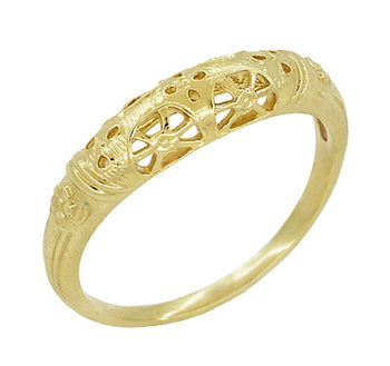 Art Deco Filigree Wedding Ring in 14 Karat Yellow Gold