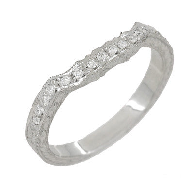 Art Deco Loving Hearts Contoured Vintage Engraved Wheat Diamond Wedding Ring in Platinum - Item: WR459P - Image: 2