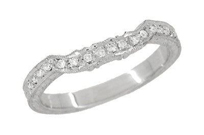 ... Art Deco Loving Hearts Contoured Vintage Engraved Wheat Diamond Wedding  Ring In Platinum