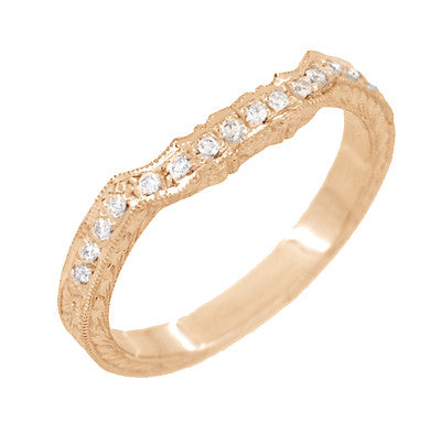 Art Deco Antique Style Loving Hearts Contoured Engraved Wheat Diamond Wedding Ring in 14 Karat Rose ( Pink ) Gold - Item: WR459R - Image: 2