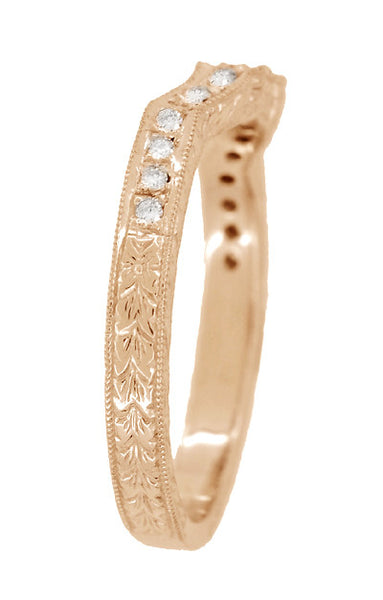 Art Deco Antique Style Loving Hearts Contoured Engraved Wheat Diamond Wedding Ring in 14 Karat Rose ( Pink ) Gold - Item: WR459R - Image: 3