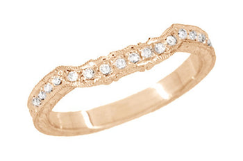 Art Deco Antique Style Loving Hearts Contoured Engraved Wheat Diamond Wedding Ring in 14 Karat Rose ( Pink ) Gold