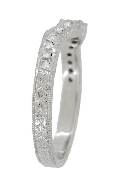 Art Deco Loving Hearts Contoured Engraved Antique Design Wheat Diamond Wedding Ring in 18 Karat White Gold - Item: WR459W - Image: 3