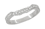 Art Deco Loving Hearts Contoured Antique Carved Wheat Diamond Wedding Ring in White Gold