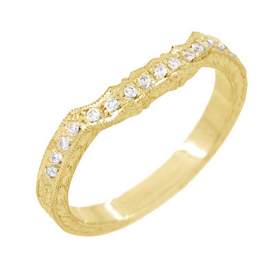 Antique Style Loving Hearts Contoured Art Deco Engraved Wheat Diamond Wedding Ring in 18 Karat Yellow Gold - Item: WR459Y - Image: 2