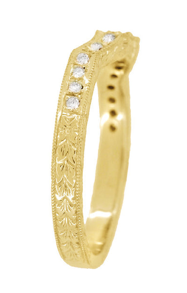 Antique Style Loving Hearts Contoured Art Deco Engraved Wheat Diamond Wedding Ring in 18 Karat Yellow Gold - Item: WR459Y - Image: 3