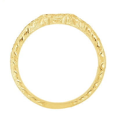 Antique Style Loving Hearts Contoured Art Deco Engraved Wheat Diamond Wedding Ring in 18 Karat Yellow Gold - Item: WR459Y - Image: 4