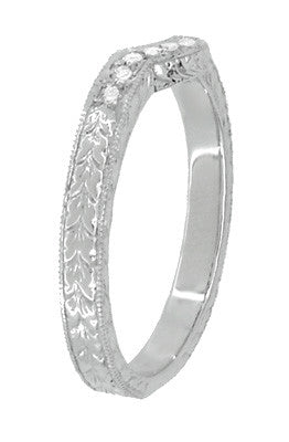 Royal Crown Curved Diamond Engraved Wedding Band in Platinum - Item: WR460PD - Image: 3