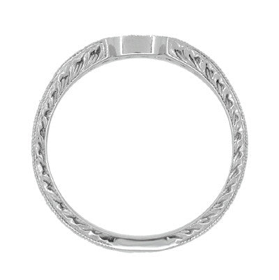 Royal Crown Curved Diamond Engraved Wedding Band in Platinum - Item: WR460PD - Image: 5