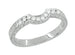Royal Crown Curved Diamond Wedding Band in White Gold - 14K or 18K