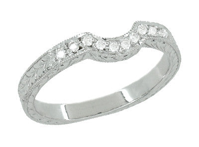 Royal Crown Curved Diamond Engraved Wedding Band in 14K or 18K White Gold