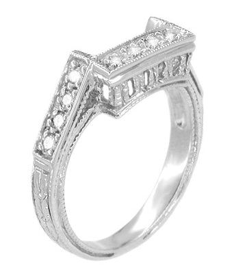 Art Deco Castle Filigree Diamond Companion Wedding Ring in Platinum