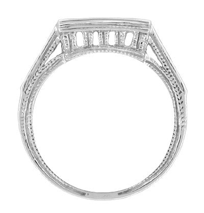 Art Deco Filigree Castle Diamond Notched Wedding Ring in 18 Karat White Gold - Item: WR496 - Image: 1