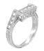 Art Deco Filigree Castle Diamond Notched Wedding Ring in 18 Karat White Gold