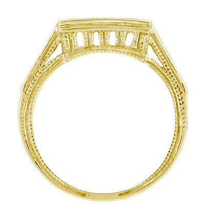 Art Deco Diamond Filigree Contoured Linear Wedding Ring in 18 Karat Yellow Gold - Item: WR496Y - Image: 1