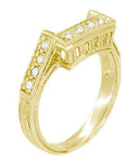 Art Deco Diamond Filigree Contoured Linear Wedding Ring in 18 Karat Yellow Gold