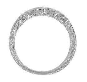 Side Scrolls Carved Detail on Antique Platinum and Diamond Art Deco Wedding Band - WR628P