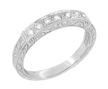Art Deco Engraved Scrolls Wedding Ring in White Gold with Diamonds