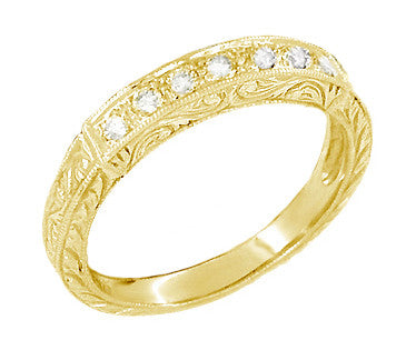 1920s Yellow Gold Antique Diamond Wedding Ring with Scrolls Engraved on all 3 Sides - 18K or 14K Yellow Gold - WR628Y