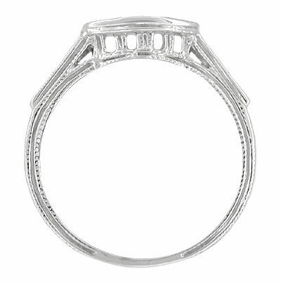 Art Deco Diamonds Filigree and Wheat Curved Hugger Wedding Ring in 18 Karat White Gold - Item: WR663 - Image: 1