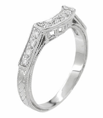 Art Deco Diamonds Filigree and Wheat Curved Hugger Wedding Ring in 18 Karat White Gold