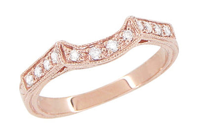 Art Deco Diamond Filigree Wraparound Wedding Ring in 14K Rose ( Pink ) Gold