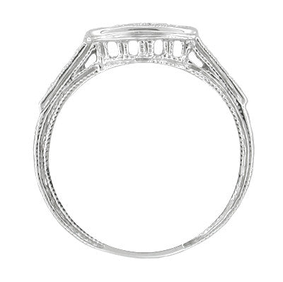 Art Deco Diamond Engraved Filigree Contoured Wedding Ring in 18 Karat White Gold - Item: WR664 - Image: 1