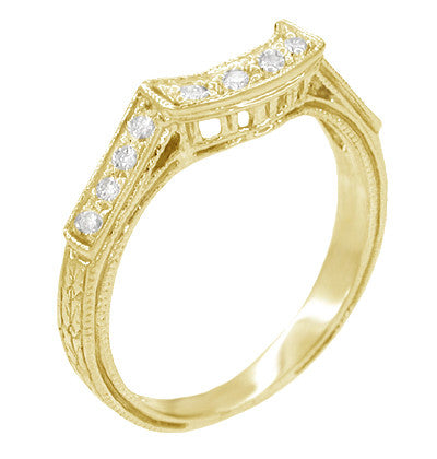 Matching Art Deco Engraved Diamond Filigree Wedding Ring in 18 Karat Yellow Gold