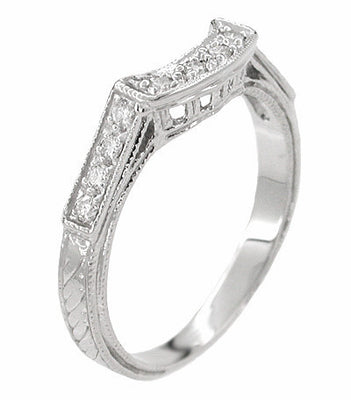 Art Deco Platinum and Diamond Filigree Hugger Wedding Ring