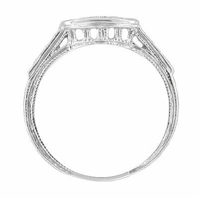 Art Deco Platinum and Diamond Engraved Filigree Wedding Ring - Item: WR673 - Image: 1