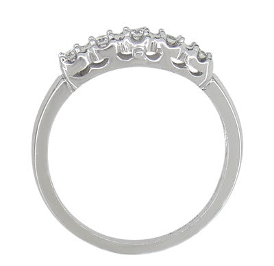 Retro Moderne Filigree Straightline Diamond Wedding Ring in 14 Karat White Gold - Item: WR674 - Image: 1