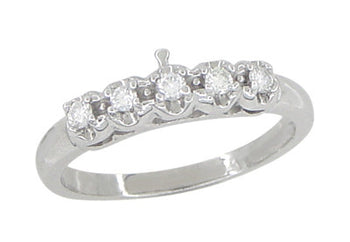 Retro Moderne Filigree Straightline Diamond Wedding Ring in 14 Karat White Gold