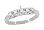 Retro Moderne Platinum Straightline Diamond Filigree Wedding Ring
