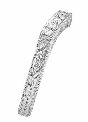 Art Deco Engraved Wheat Curved Diamond Wedding Band in Platinum - Item: WR679PD - Image: 1