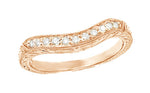 Art Deco Engraved Wheat Curved Diamond Wedding Band in 14 Karat Rose Gold