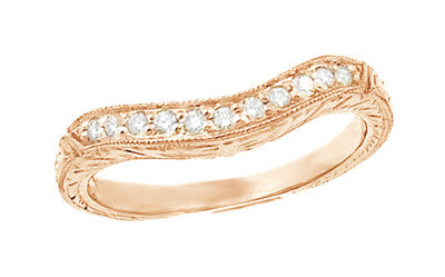 Art Deco Rose Gold Engraved Wheat Curved Diamond Wedding Band