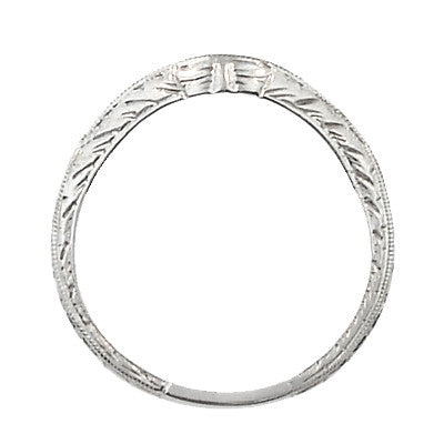 Art Deco Engraved Wheat Curved Diamond Wedding Band in 14 Karat White Gold - Item: WR679W14D - Image: 3