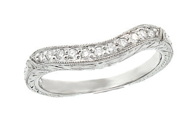 Art Deco Engraved Wheat Curved Diamond Wedding Band in 14 Karat White Gold