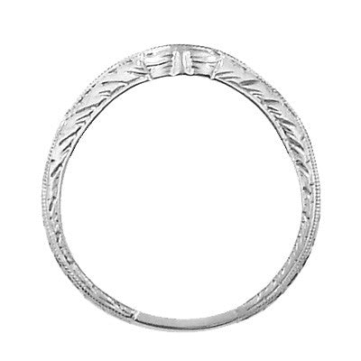 Art Deco Engraved Wheat Curved Diamond Wedding Band in 18 Karat White Gold - Item: WR679WD - Image: 3