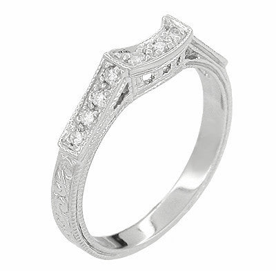 Art Deco Diamonds Filigree Scrolls Curved Wedding Ring In 18 Karat White Gold Scroll Engraved Vintage Style Curved Band