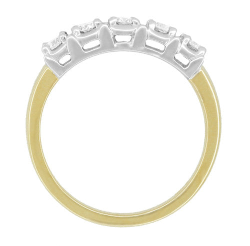 Mid Century Straightline Diamond Wedding Ring in 14 Karat White and Yellow Gold - Item: WR728 - Image: 2