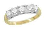 Mid Century Straightline Diamond Wedding Ring in 14 Karat White and Yellow Gold