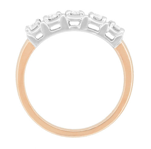 Mid Century Straightline Diamond Wedding Ring in 14 Karat White and Rose ( Pink ) Gold - Item: WR728R - Image: 2