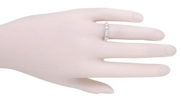 Mid Century Straightline Diamond Wedding Ring in 14 Karat White and Rose ( Pink ) Gold - Item: WR728R - Image: 3