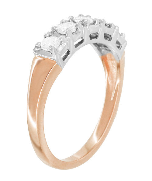 Mid Century Straightline Diamond Wedding Ring in 14 Karat White and Rose ( Pink ) Gold - Item: WR728R - Image: 1