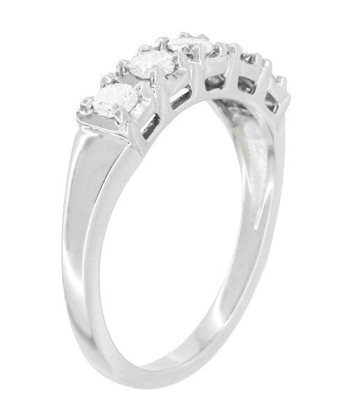 Mid Century Straightline Diamond Wedding Ring in 14 Karat White Gold - Item: WR728W - Image: 1