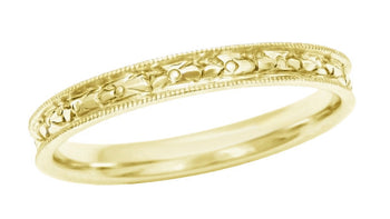 Yellow Gold Womens Edwardian Wedding Band with Floral Engraving - 14 Karat