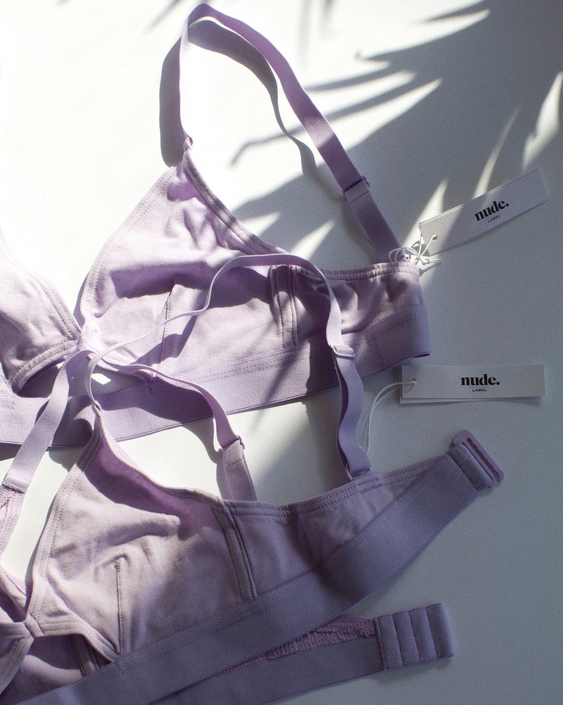 Cut Out Bra Organic Cotton - Wide Strap - Lilac - S,M,L