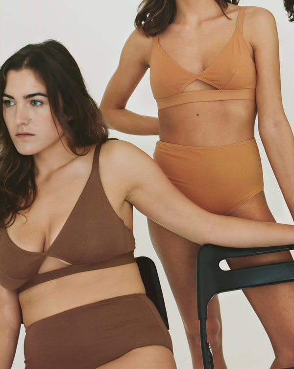 The Nude Label, Cut Out Bra Organic Cotton - Wide Strap - Chocolate - M-L - ROCKET SHOP LONDON