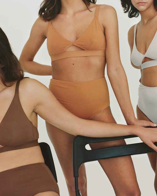 The Nude Label, Cut Out Bra Organic Cotton - Wide Strap - Pumpkin - M - Last One - ROCKET SHOP LONDON